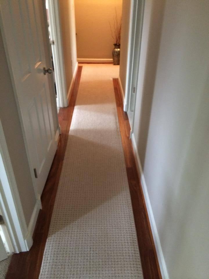 Custom Carpet Runner On Brazilian Teak Stairs — Beers Flooring | Custom Carpet Runners For Stairs | Wood | Stair Treads | Landing | Carpet Workroom | Flooring