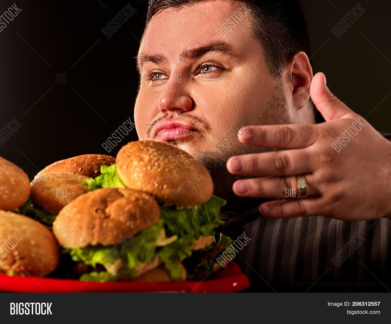 Burger Guy Fat Eating Happy