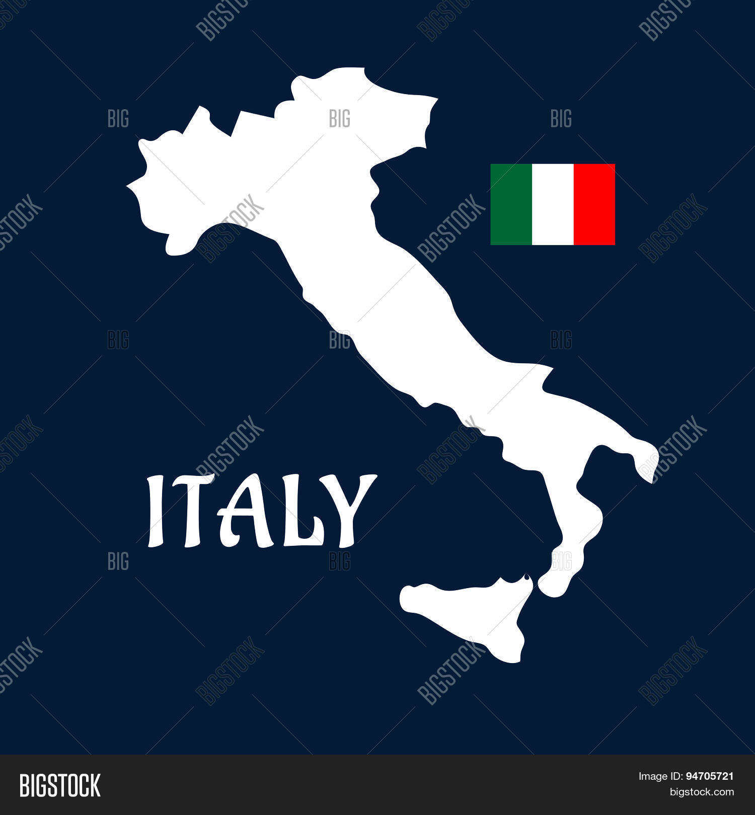 Flat Map Italy Vector   Photo  Free Trial    Bigstock Flat map of Italy and national flag