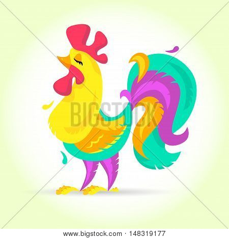 New Year Cute Cartoon Vector   Photo  Free Trial    Bigstock New Year Cute cartoon rooster vector illustration  Rooster  cock farm bird   Holiday card