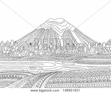 coloring pages printable mountains and trees # 16