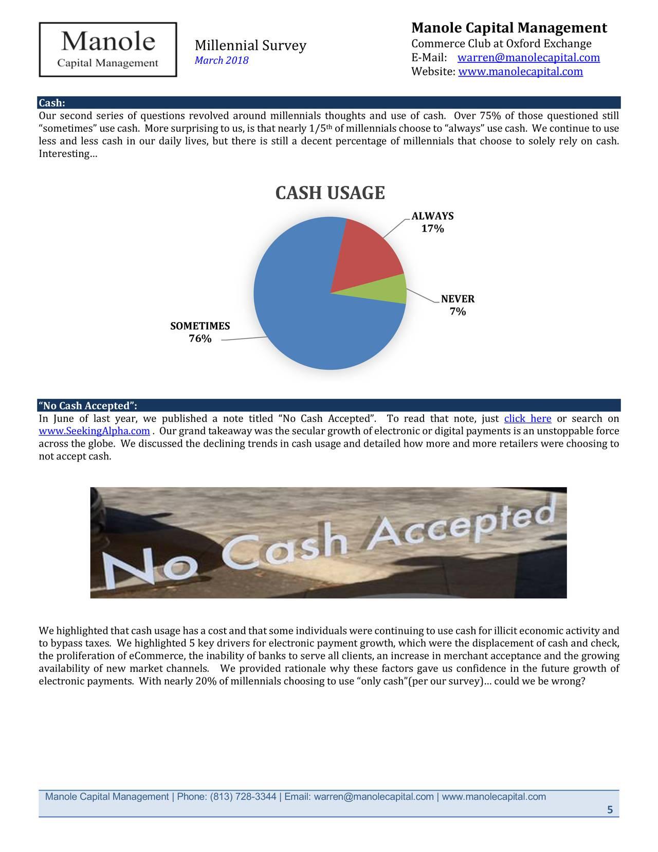Manole Capital: Millennial Survey | Seeking Alpha