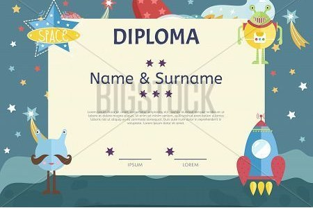 Kids Diploma Template Vector   Photo  Free Trial    Bigstock Kids diploma template  Preschool elementary school kids diploma  Kids  certificate or diploma layout