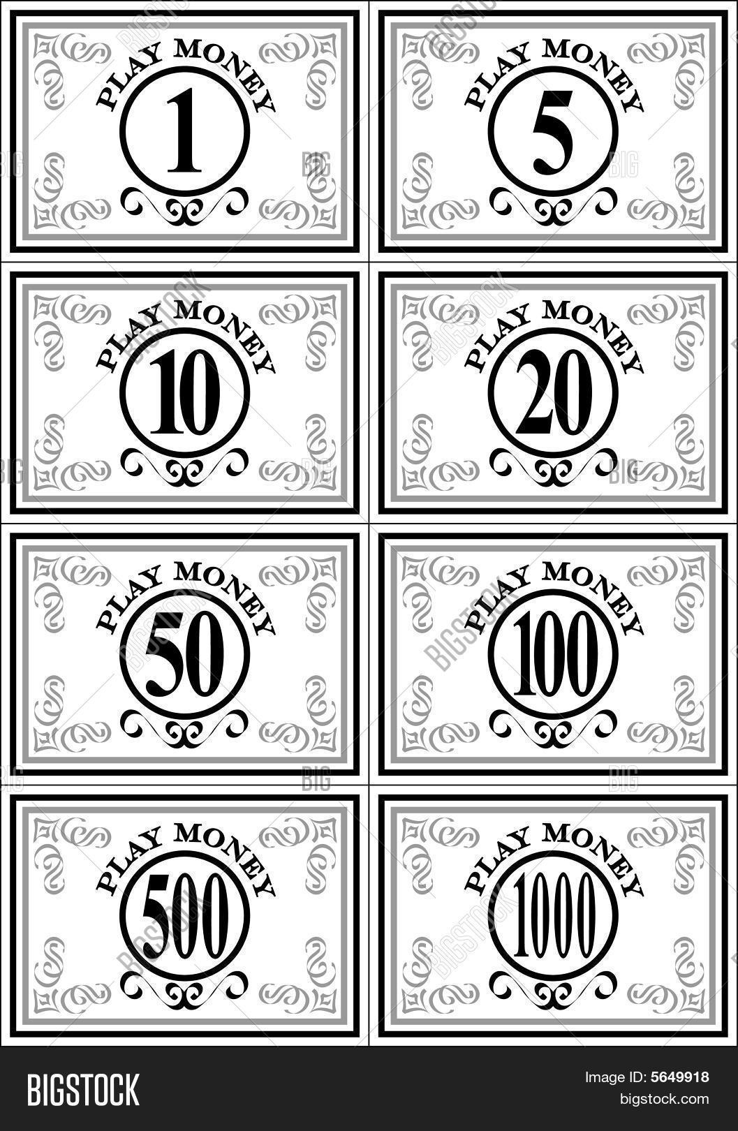 Printable Monopoly Money Template Black And White