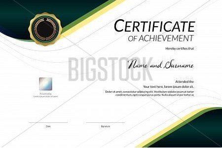 Luxury Certificate Template With Elegant Border Frame  Diploma     Luxury Certificate Template With Elegant Border Frame  Diploma Design For  Graduation Or Completion poster