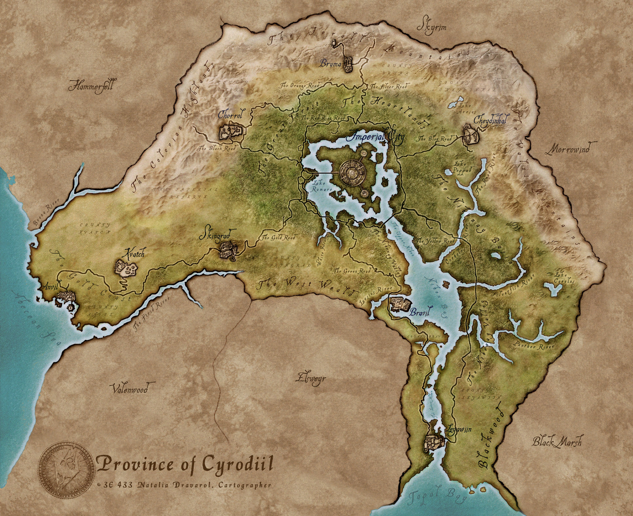 Oblivion Elder Scrolls World Map
