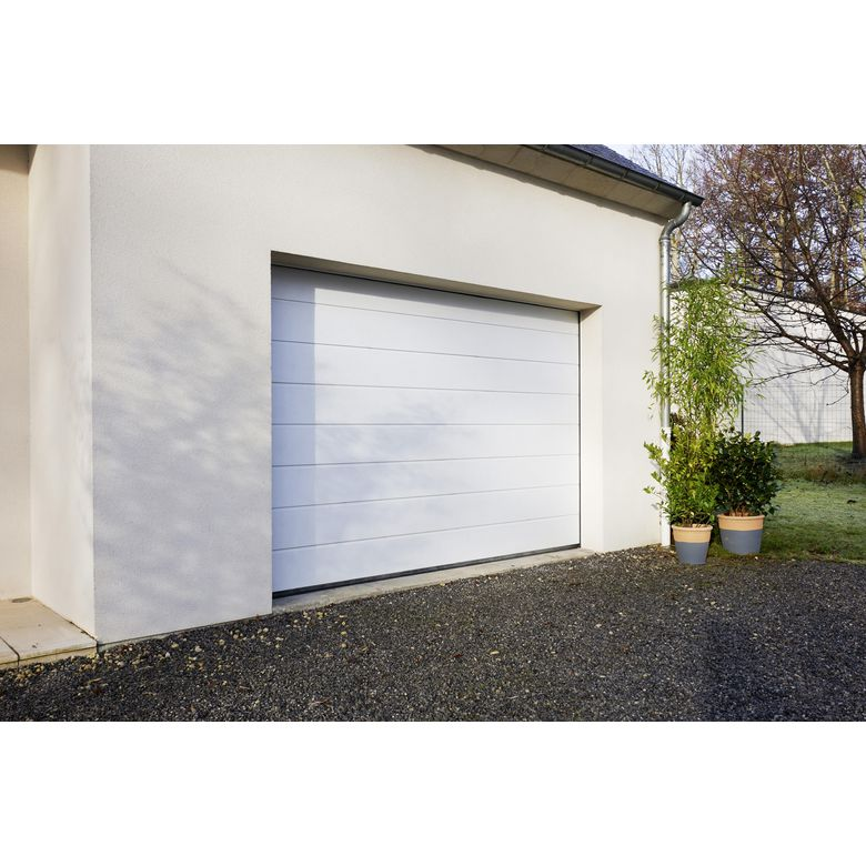 Portes de garage   Ext    rieur   Lapeyre Porte de garage Oregon sectionnelle en kit motoris    e