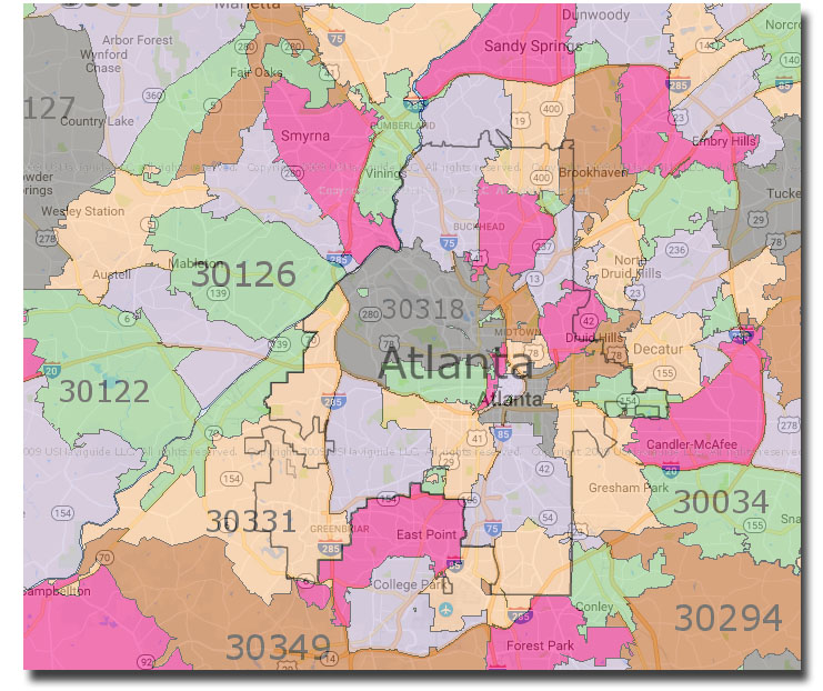 Atlanta Ga Zip Codes Map