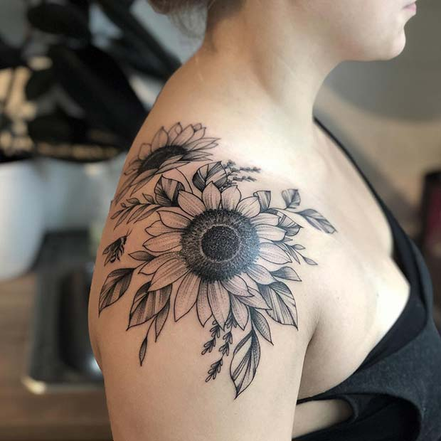 41 Pretty Sunflower Tattoo Ideas to Copy Now | Page 4 of 4 ...