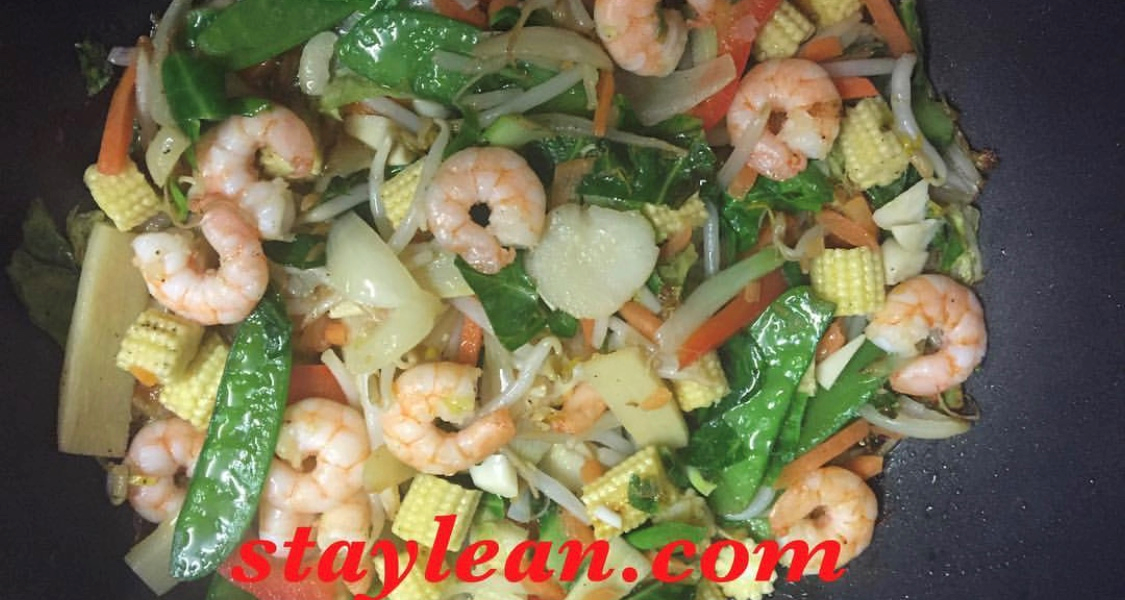 Prawn stir-fry with mushrooms