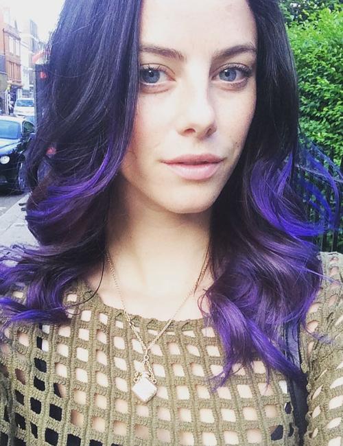 Kaya Scodelario Wavy Purple Peek-A-Boo Highlights, Uneven ...