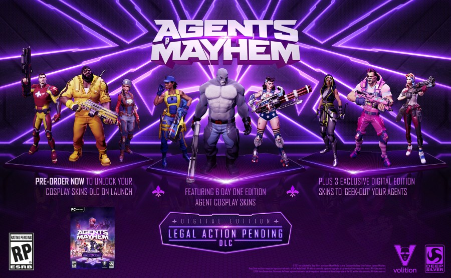 Agents of Mayhem    Preorder live now  Agents of Mayhem is coming to PC on August 15  and the pre purchase is now  live on the store  Pre order to get the six Day One cosplay skins