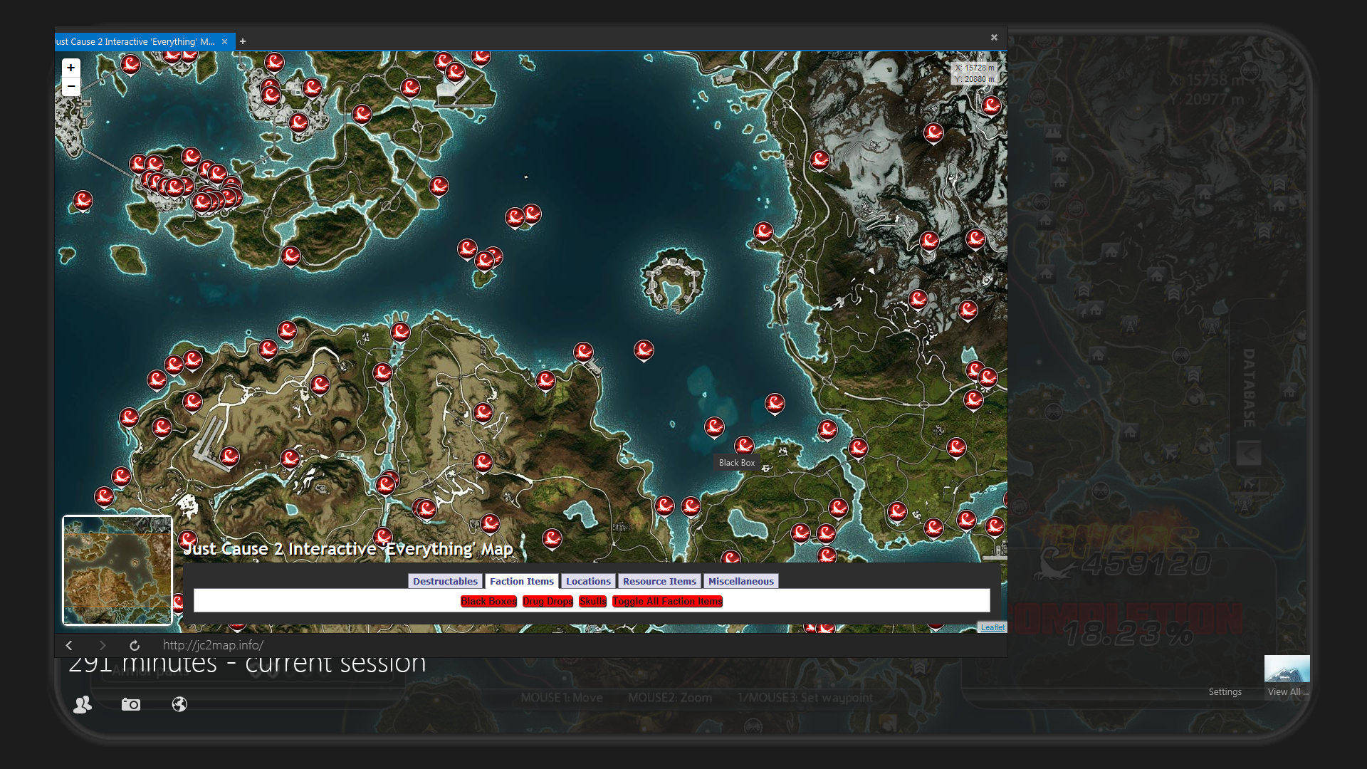 Steam Community    Guide    Just Cause 2 Interactive  EVERYTHING  Map Even though all of the items that you find in Just Cause 2 in included in this  map  it is still considered a work in progress as the formatting is a mess