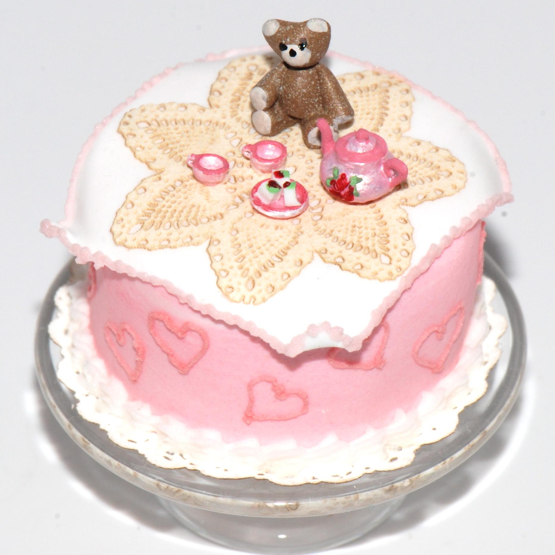 Teddy Bear Picnic Cake W Tea Set Stewart Dollhouse