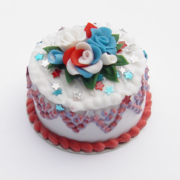 4th Of July Cake W Red White And Blue Roses Amp Stars