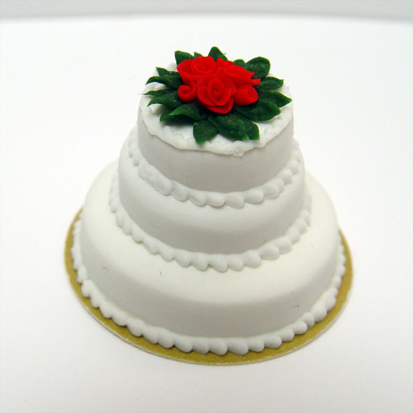 Minature Triple Tiered Christmas Cake W Red Roses
