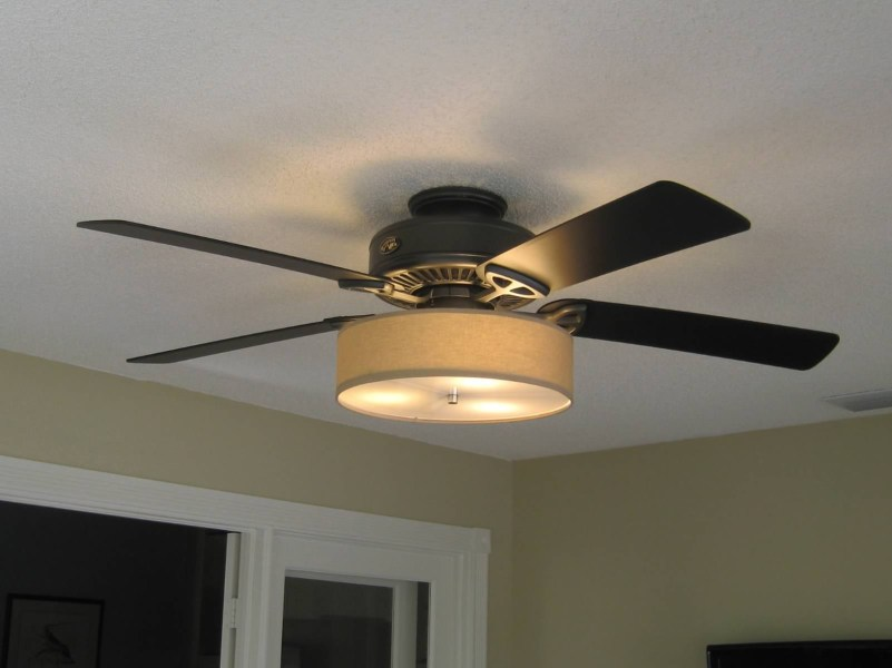 Low Profile Linen Drum Shade Light Kit for Ceiling Fan   S T      Low Profile Linen Drum Shade Light Kit for Ceiling Fan   S T  Lighting LLC