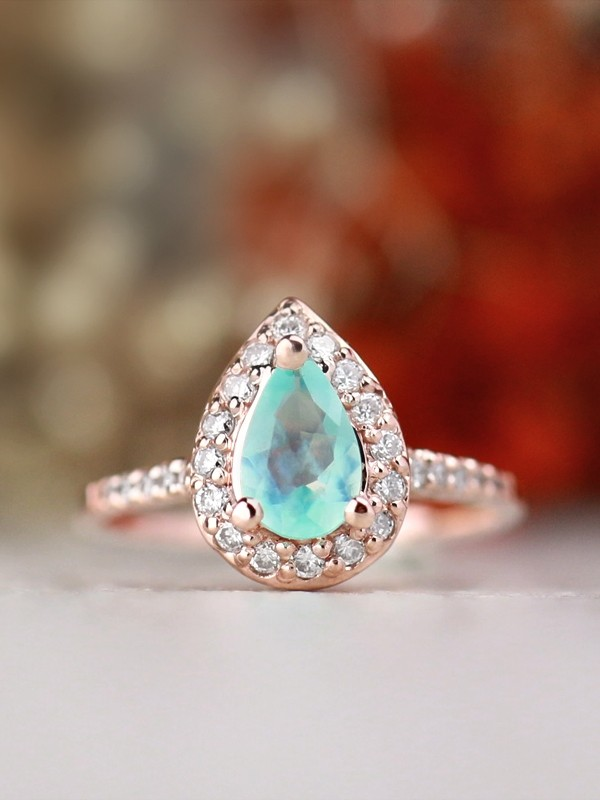 Peruvian Opal Diamond Solid 14kg Engagement Ring