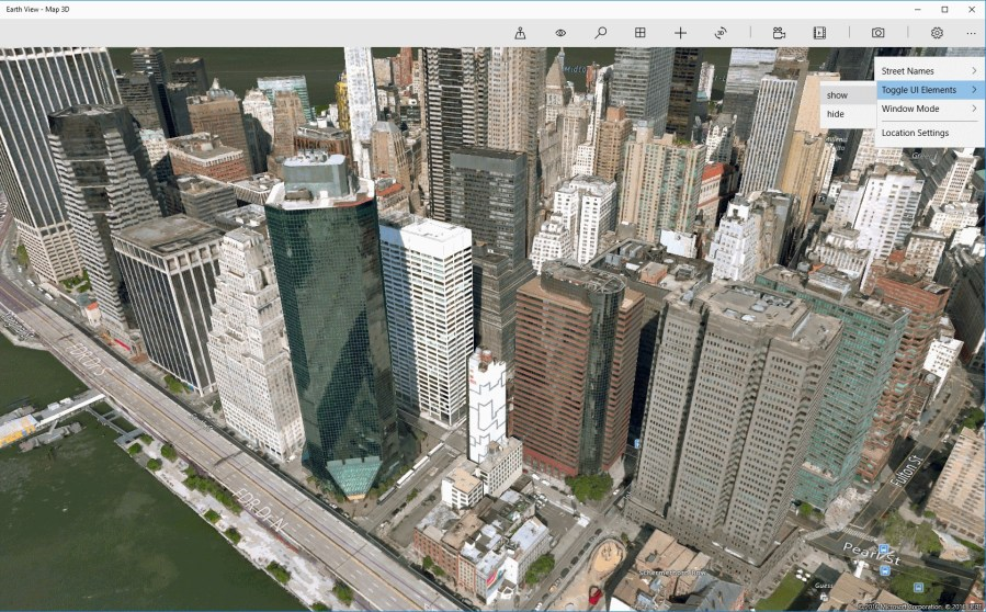 Get Earth View   Map 3D   Microsoft Store     Screenshot  Settings  show hide UI elements  show hide street names in