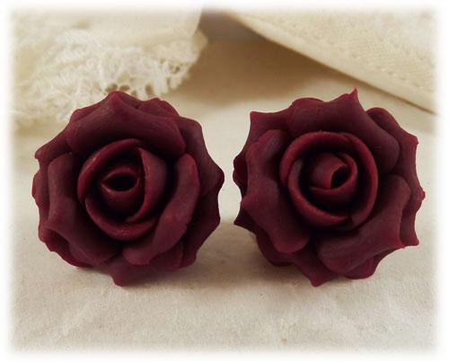 Garnet Red Rose Stud Earrings Amp Clip On Earrings