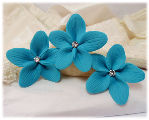 Turquoise Hair Flowers   Aqua Flower Wedding Hair Pins Turquoise Hair Flowers