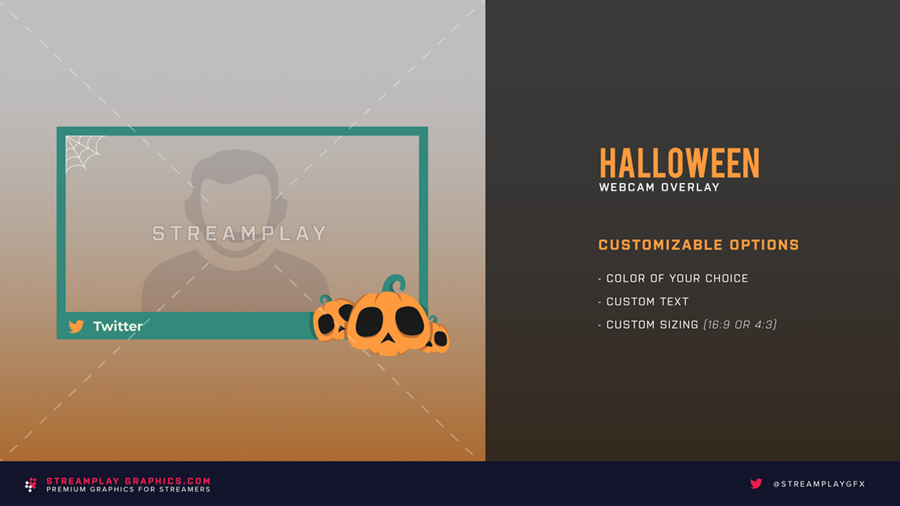 halloween stream webcam overlay with pumpkins and spider web