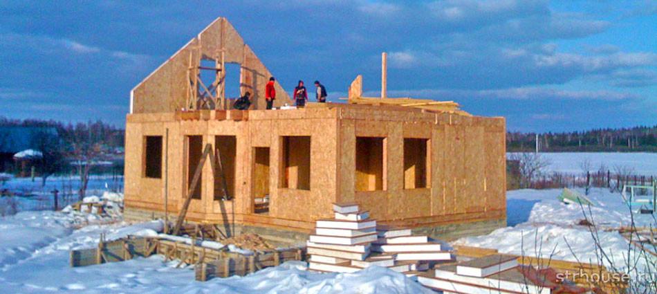 Et eksempel på et færdigt huskompleks på byggepladsen