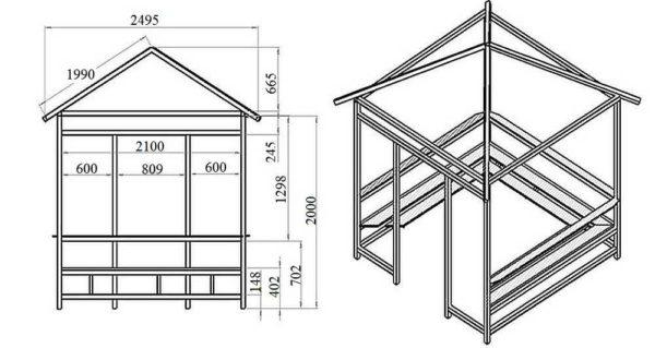 Прямоугольная беседка с четырехскатной крышей (крыша заменена на