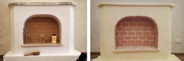 Here is a fireplace from cardboard