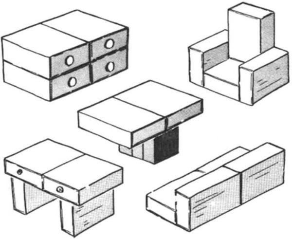Egyszerű házi baba bútorok készült egyezik dobozok