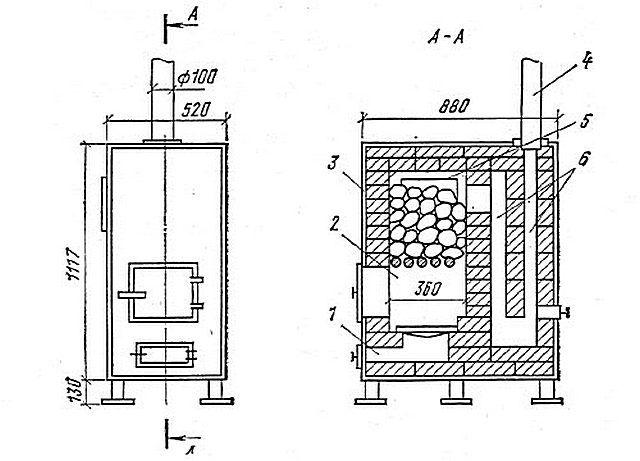 Metal furnace na may panloob na brick masonry
