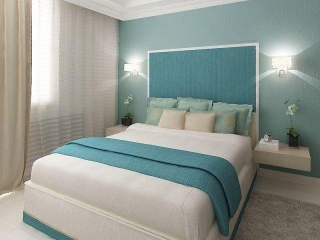 Blauwe tinten zullen goed zijn om te slapen, gelegen aan de zonnige kant van het huis