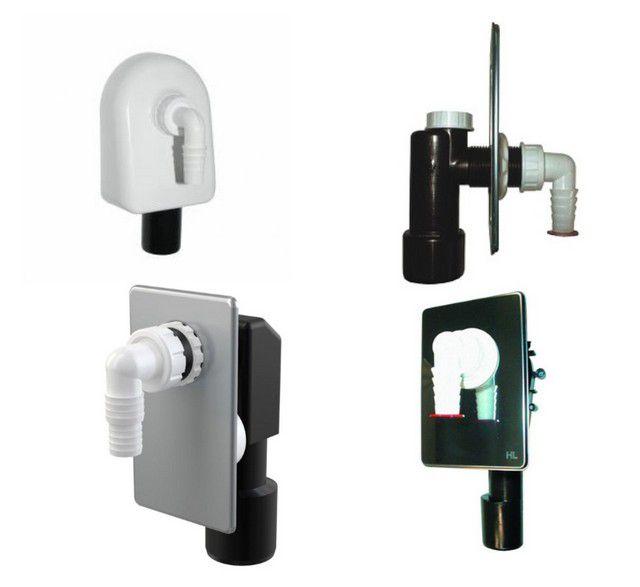 Несколько примеров настенных сифонов для бытовой техники, открытого и скрытого расположения