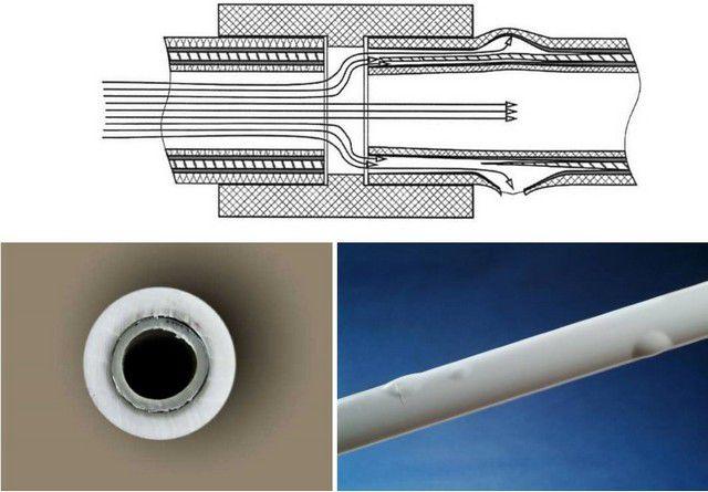 내부 알루미늄 보강으로 파이프를 이동할 필요성을 설명하는 계획과 일러스트레이션