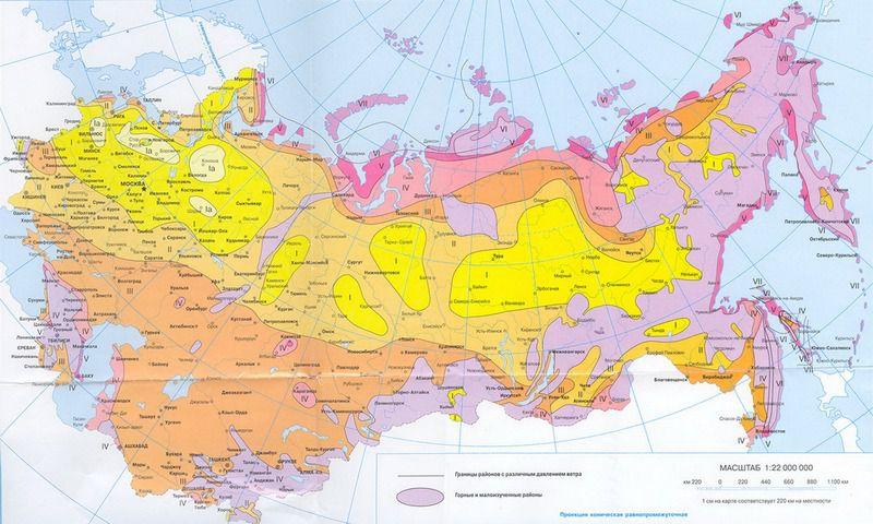 Zonering av Rysslands territorium i vindtrycket