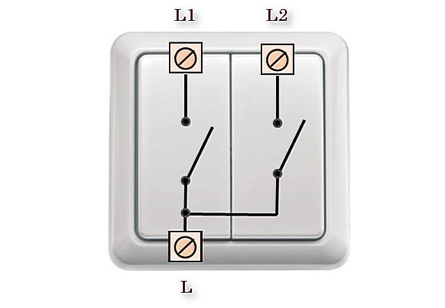 Eşleştirilmiş faz girişi ve iki ayrı çıkış ile iki blok anahtarı