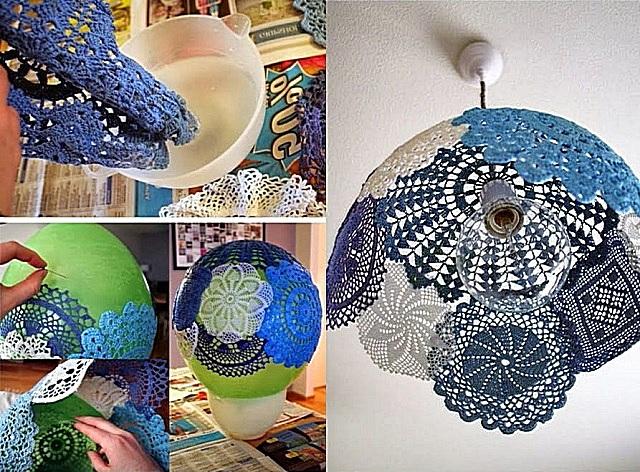 ساخت یک لامپ از دستمال های بافتنی - گام به گام.