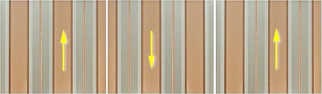 Um exemplo de papel de parede com um desenho de um tipo de reversão - cada folha próxima gira mais de 180 graus.