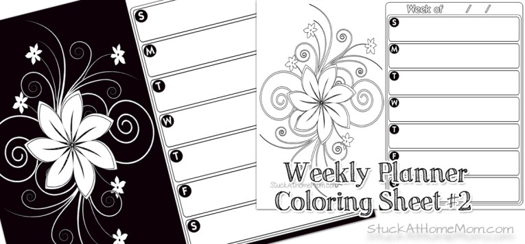 Coloring Pages Archives StuckAtHomeMom Com Free Weekly Planner Color Page 2 Printout Calendar