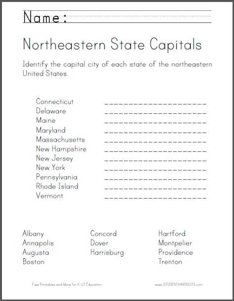 Printable Map Of Northeastern States