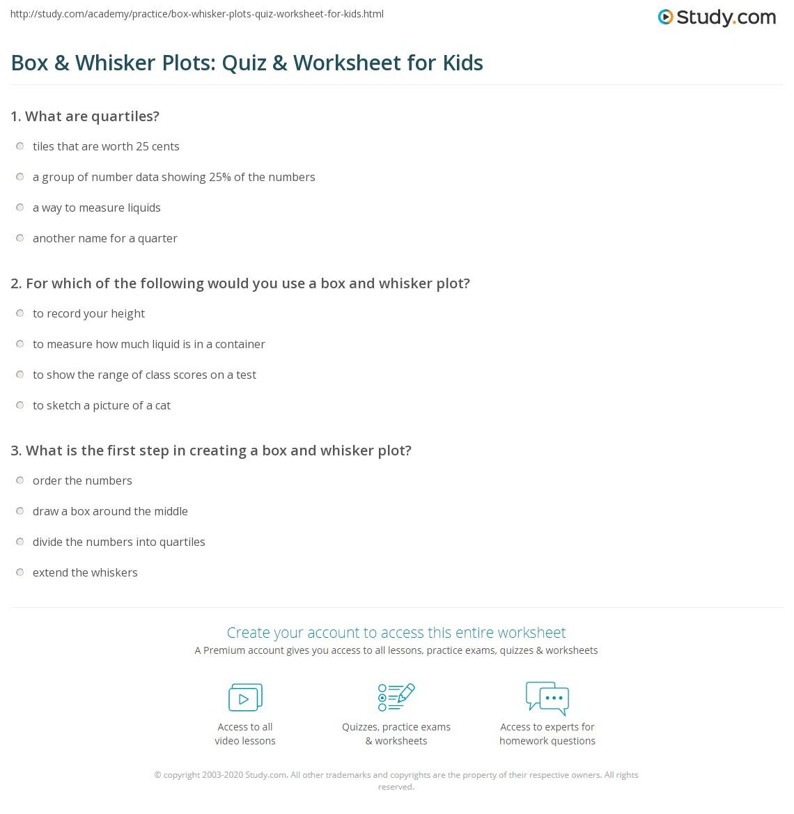 Box Whisker Plots Quiz W Ksheet Kids Study