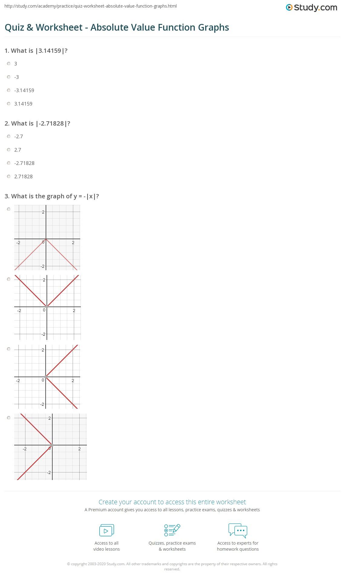 Quiz W Ksheet B Lute V Lue Functi Gr Phs Study