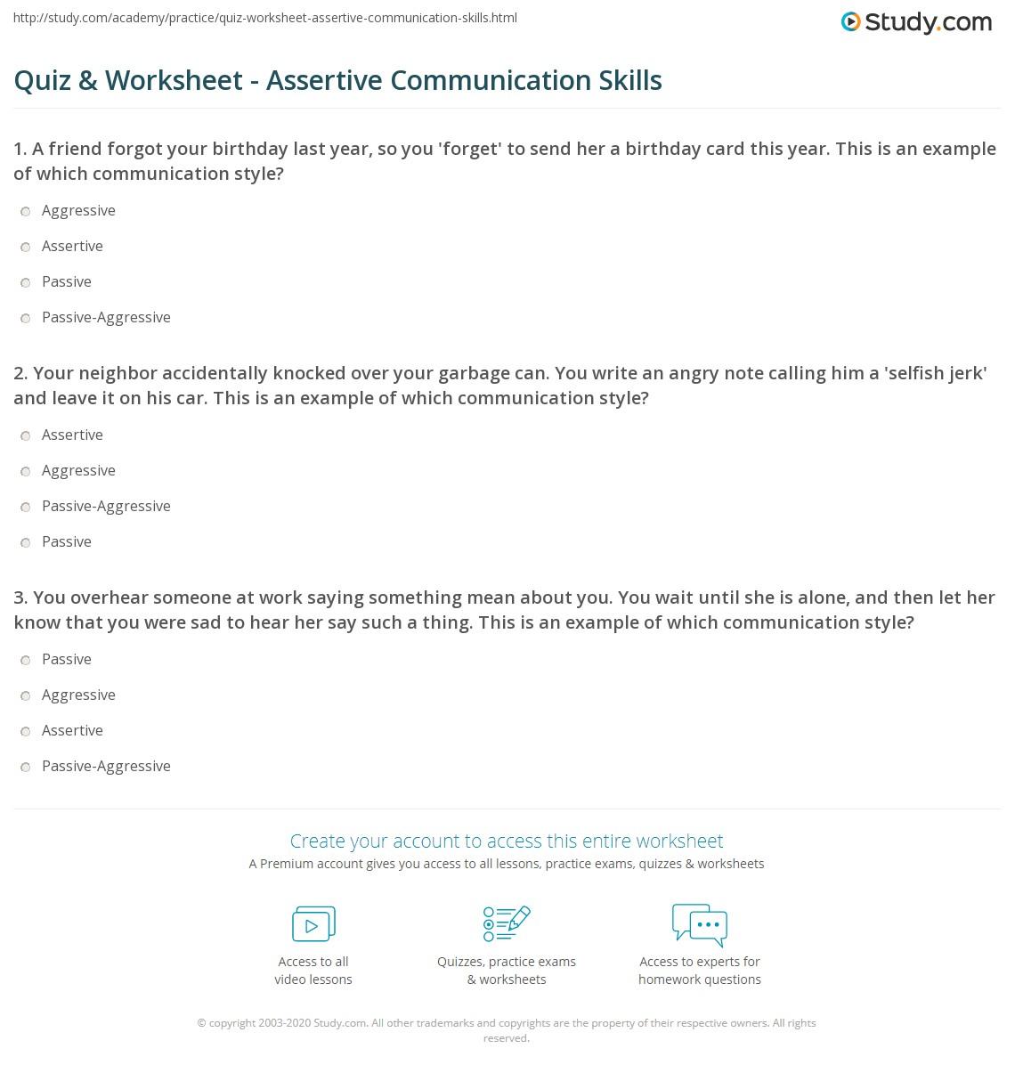 Quiz W Ksheet Ssertive Munic Ti Skills Study