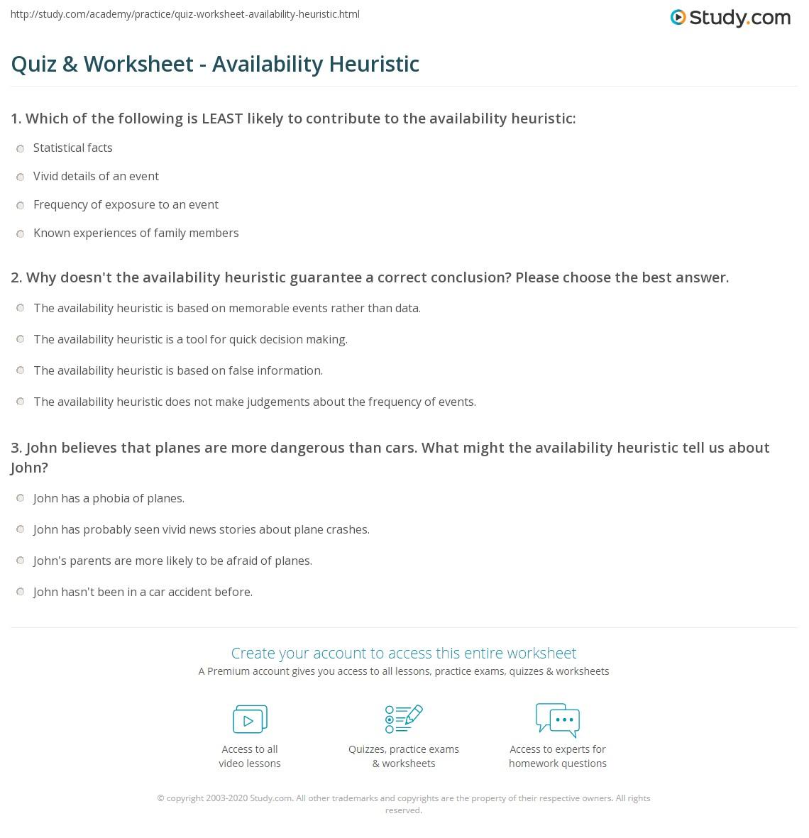 Quiz W Ksheet V Il Bility Heuristic Study
