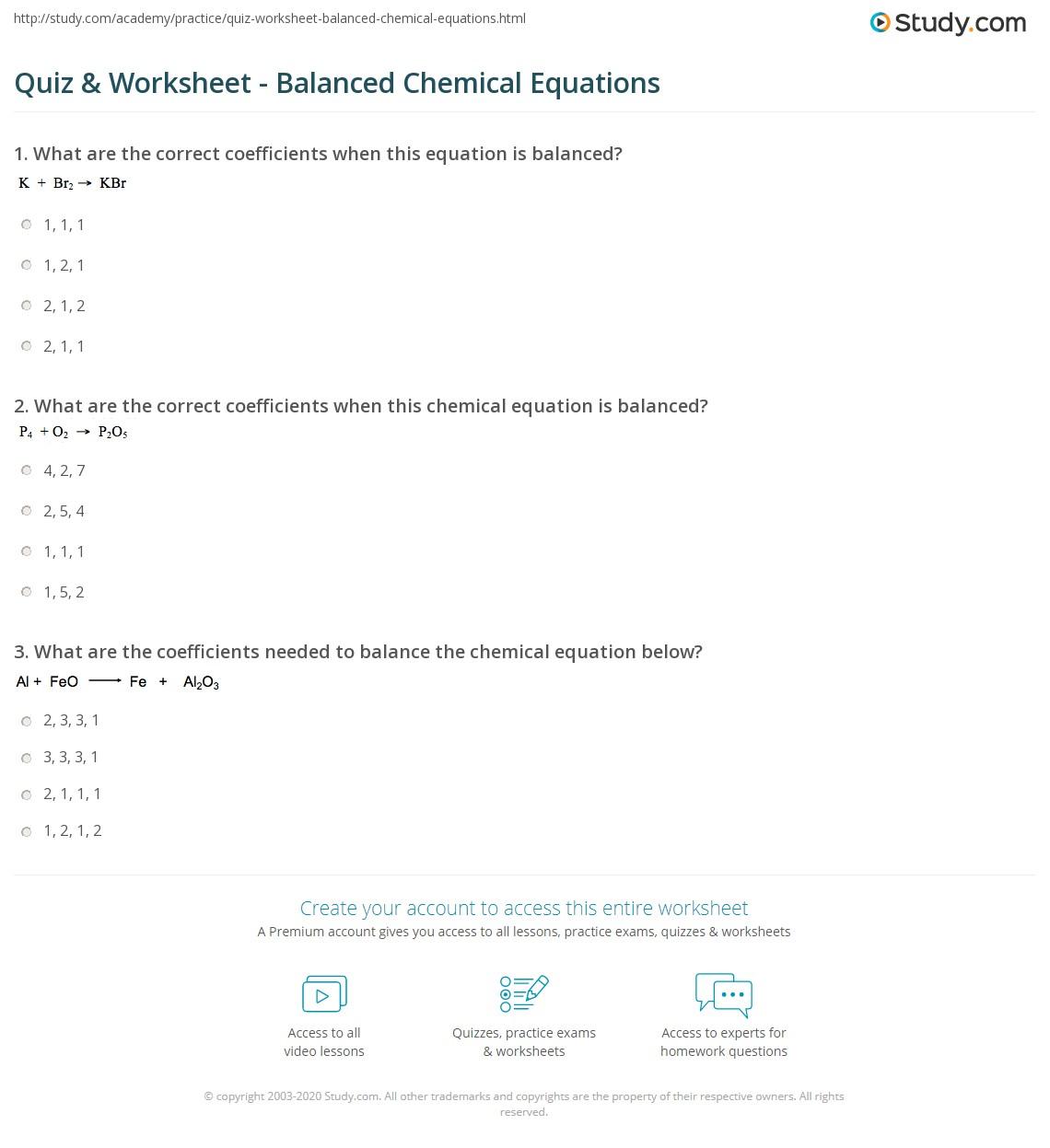 Quiz W Ksheet B L Nced Chemic L Equ Ti S Study