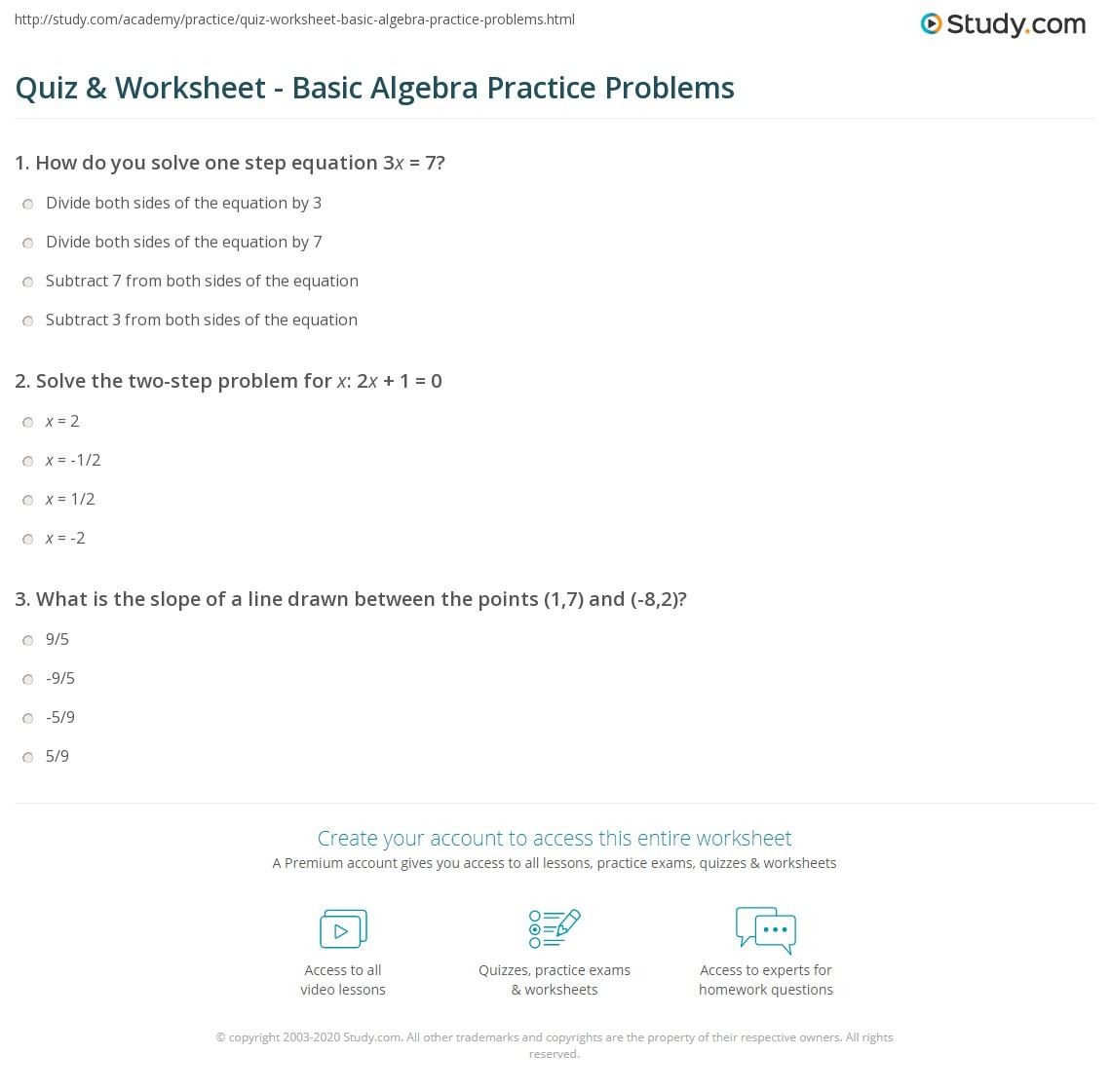 Quiz W Ksheet B Sic Lgebr Pr Ctice Problems Study