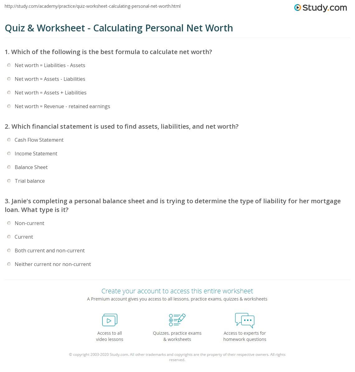Quiz W Ksheet C Lcul T G Pers L W Th Study