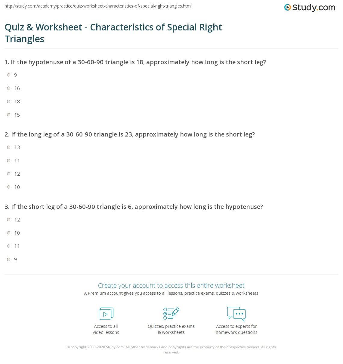 Quiz W Ksheet Ch R Cteristics Of Speci L Right Tri Ngles