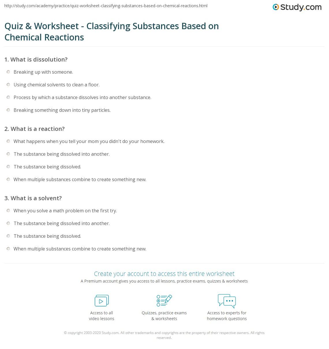 Workbooks tion worksheets printable : Classification Of Chemical Reactions Worksheet Free Worksheets ...