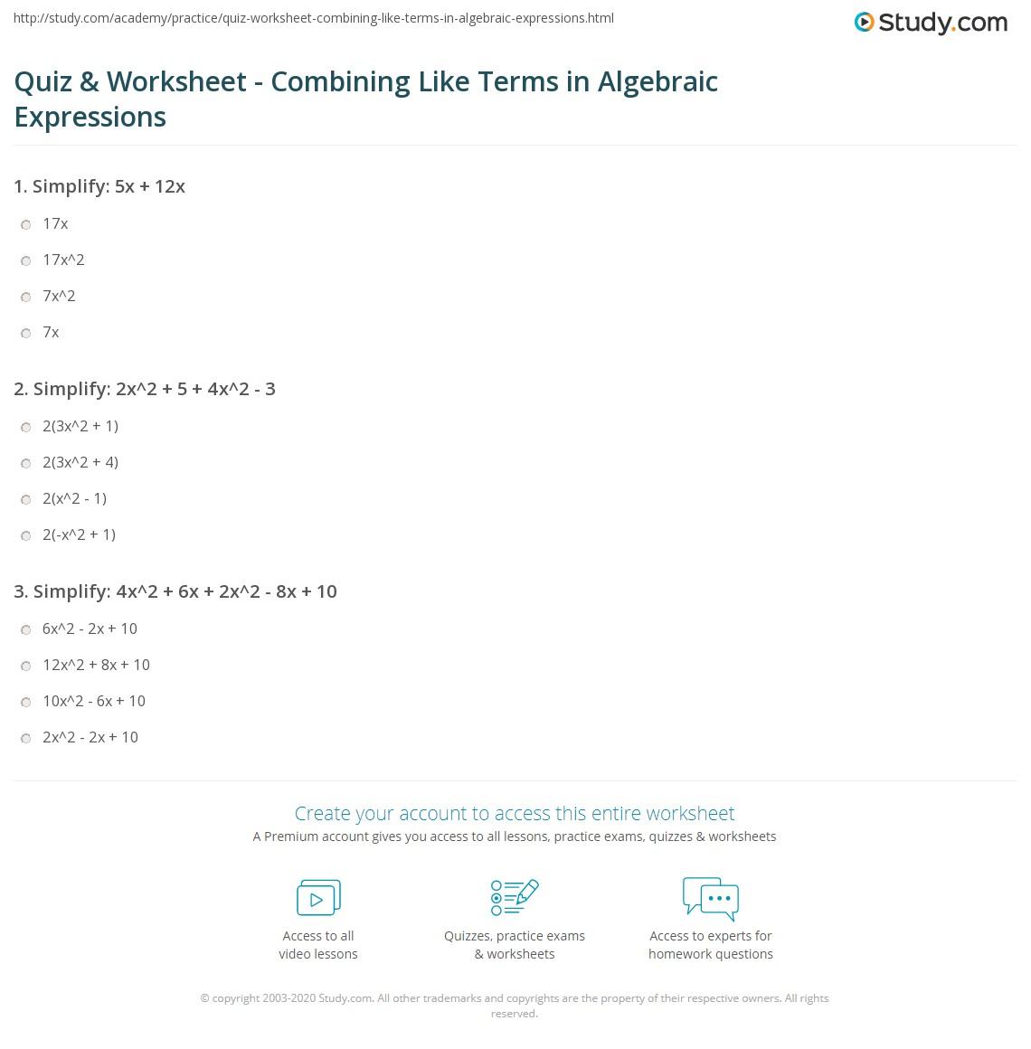 Quiz W Ksheet B G Like Terms Lgebr Ic Expressi S
